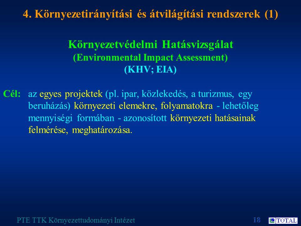 Környezetvédelmi Hatásvizsgálat (Environmental Impact Assessment) (KHV; EIA) PTE TTK Környezettudományi Intézet 4.