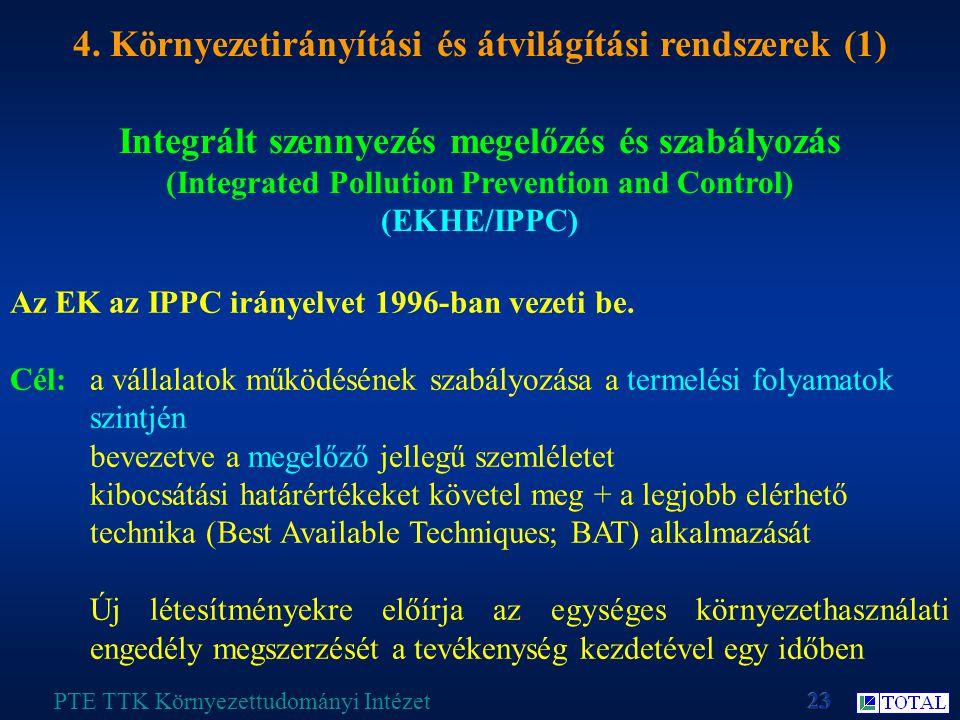 Integrált szennyezés megelőzés és szabályozás (Integrated Pollution Prevention and Control) (EKHE/IPPC) PTE TTK Környezettudományi Intézet 4.