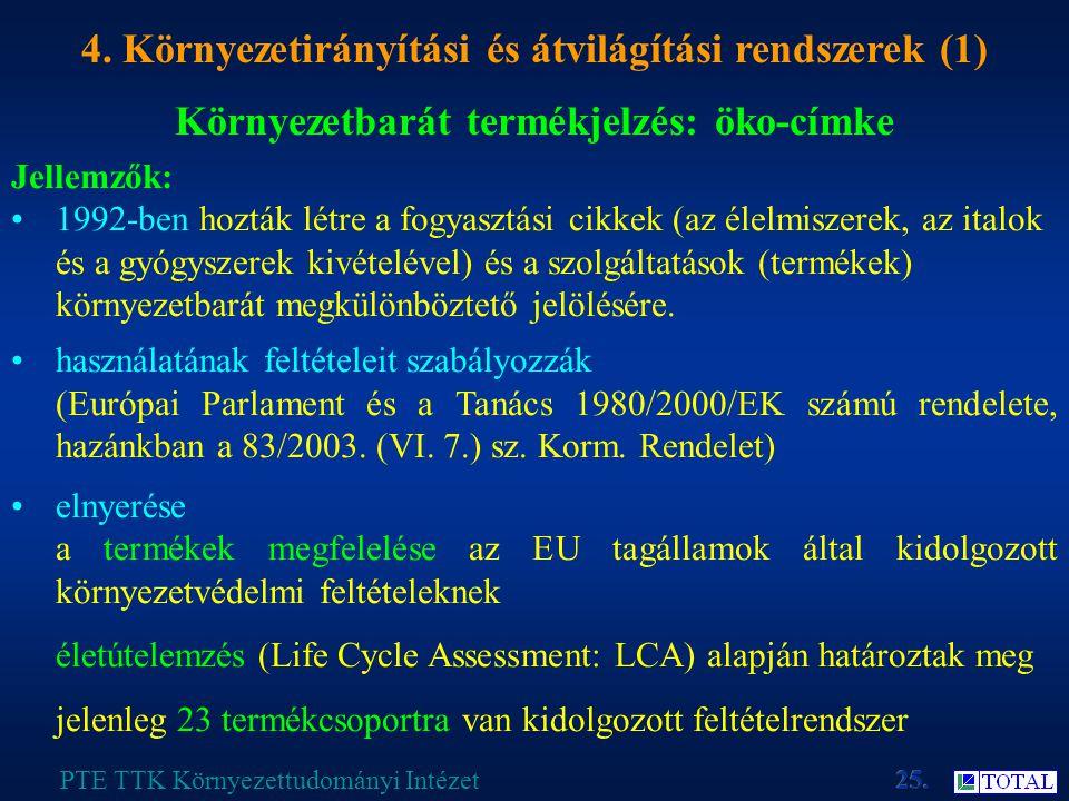 Környezetbarát termékjelzés: öko-címke PTE TTK Környezettudományi Intézet 4.