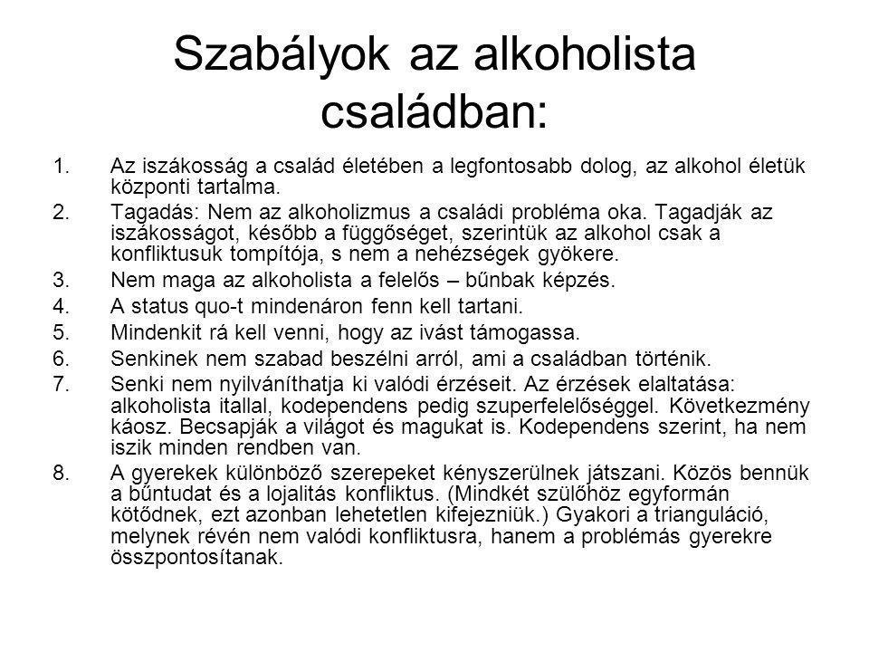 Szabályok az alkoholista családban: 1.Az iszákosság a család életében a legfontosabb dolog, az alkohol életük központi tartalma. 2.Tagadás: Nem az alk