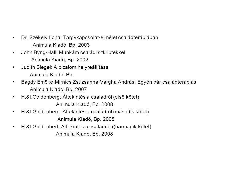 Dr. Székely Ilona: Tárgykapcsolat-elmélet családterápiában Animula Kiadó, Bp. 2003 John Byng-Hall: Munkám családi szkriptekkel Animula Kiadó, Bp. 2002
