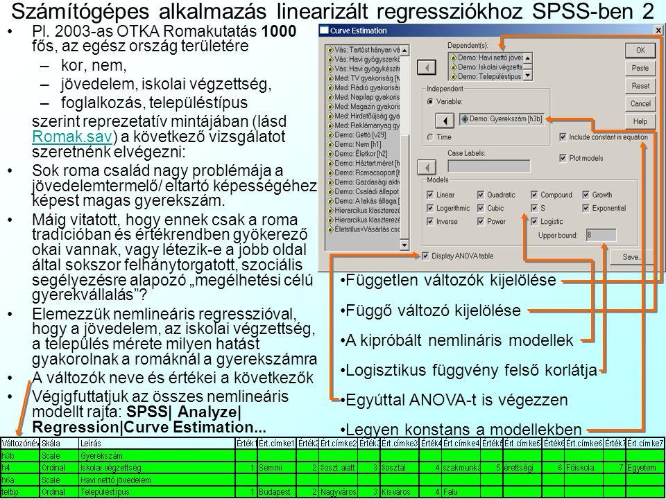 Számítógépes alkalmazás linearizált regressziókhoz SPSS-ben 2 Pl. 2003-as OTKA Romakutatás 1000 fős, az egész ország területére –kor, nem, –jövedelem,