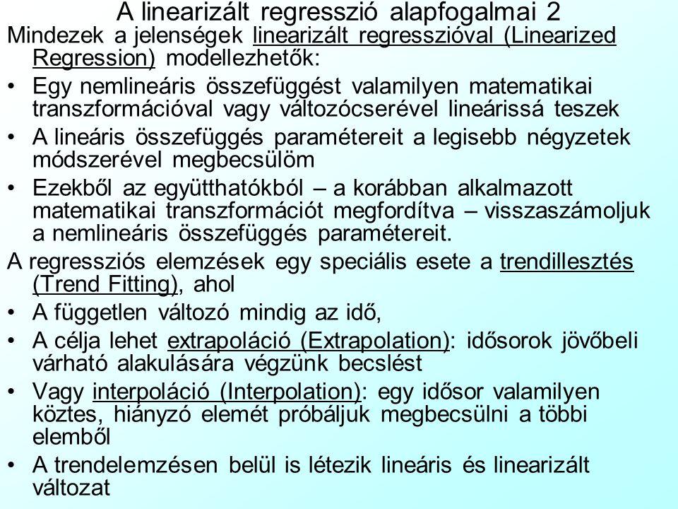 A linearizált regresszió alapfogalmai 2 Mindezek a jelenségek linearizált regresszióval (Linearized Regression) modellezhetők: Egy nemlineáris összefü