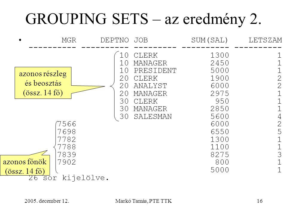 2005. december 12.Markó Tamás, PTE TTK16 GROUPING SETS – az eredmény 2.