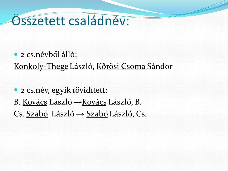 Szerzői név mint bes. adat Név= családnév + egyéni név Családnév: egyszerű vagy összetett Egyszerű családnév: Bodnár (Bodnár István)