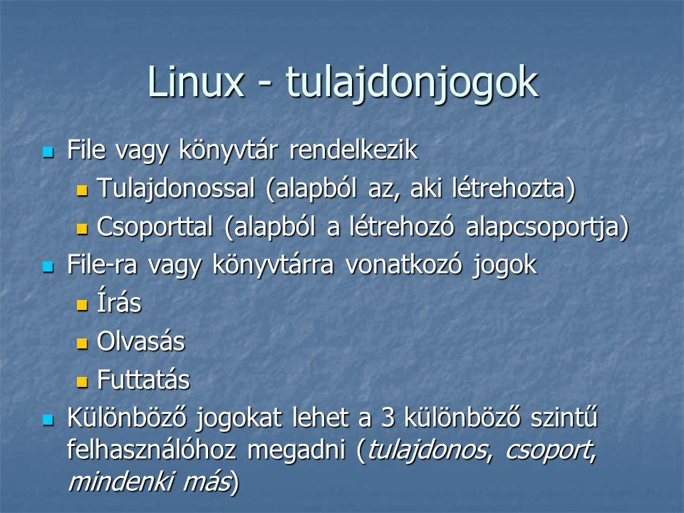 Linux - tulajdonjogok File vagy könyvtár rendelkezik File vagy könyvtár rendelkezik Tulajdonossal (alapból az, aki létrehozta) Tulajdonossal (alapból