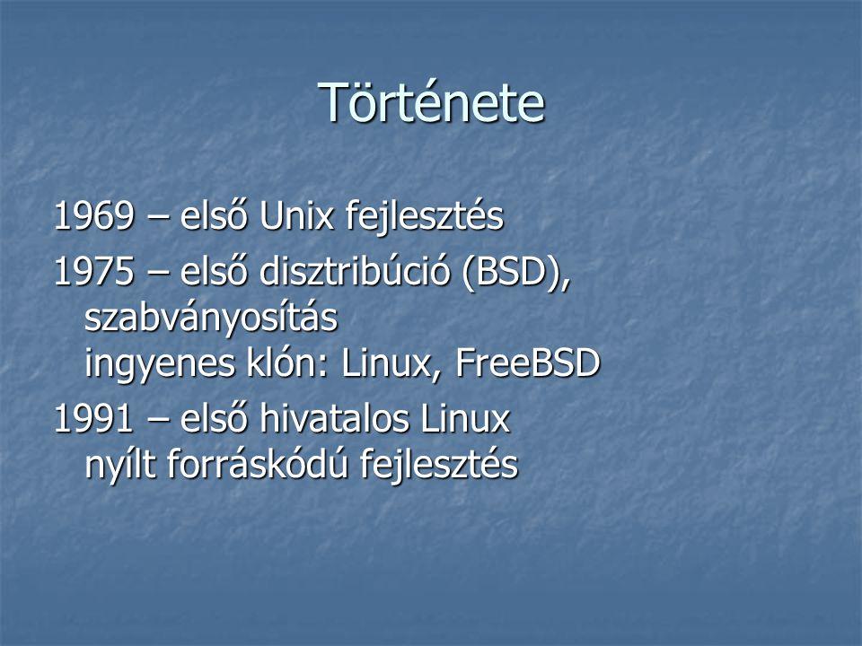 Története 1969 – első Unix fejlesztés 1975 – első disztribúció (BSD), szabványosítás ingyenes klón: Linux, FreeBSD 1991 – első hivatalos Linux nyílt f