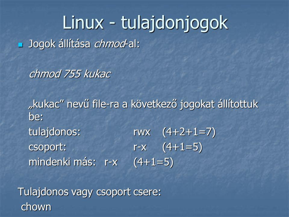 """Linux - tulajdonjogok Jogok állítása chmod-al: Jogok állítása chmod-al: chmod 755 kukac """"kukac"""" nevű file-ra a következő jogokat állítottuk be: tulajd"""
