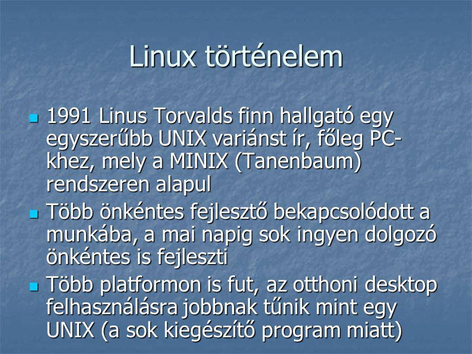 Linux történelem 1991 Linus Torvalds finn hallgató egy egyszerűbb UNIX variánst ír, főleg PC- khez, mely a MINIX (Tanenbaum) rendszeren alapul 1991 Li