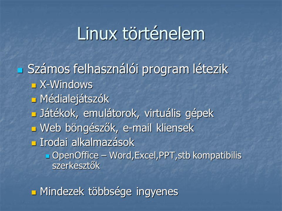 Linux történelem Számos felhasználói program létezik Számos felhasználói program létezik X-Windows X-Windows Médialejátszók Médialejátszók Játékok, em