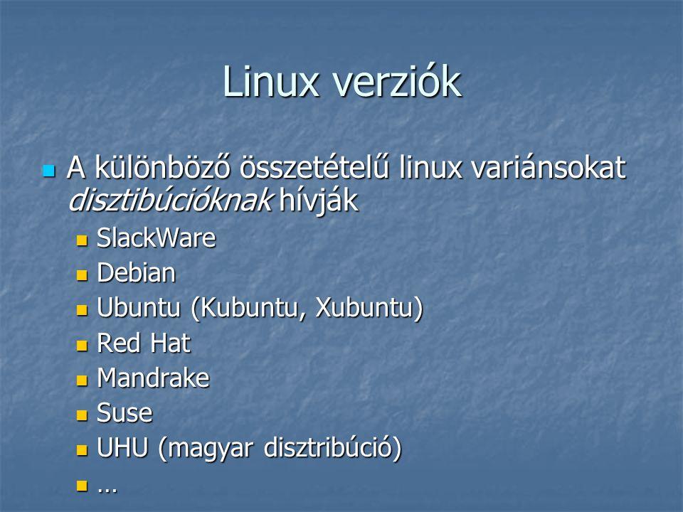 Linux verziók A különböző összetételű linux variánsokat disztibúcióknak hívják A különböző összetételű linux variánsokat disztibúcióknak hívják SlackW