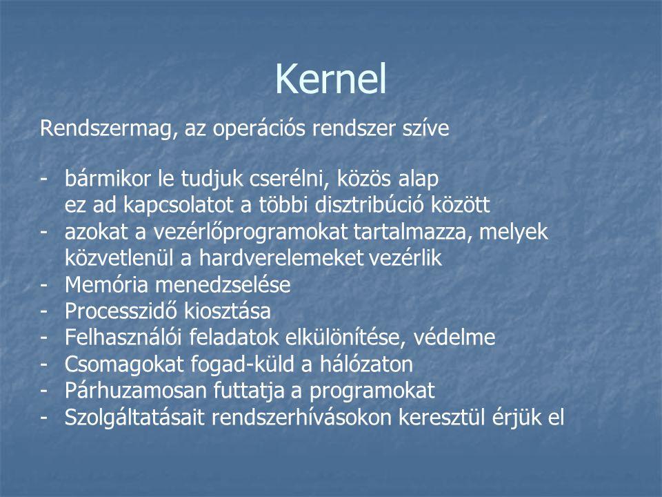 Kernel Rendszermag, az operációs rendszer szíve - -bármikor le tudjuk cserélni, közös alap ez ad kapcsolatot a többi disztribúció között - -azokat a v