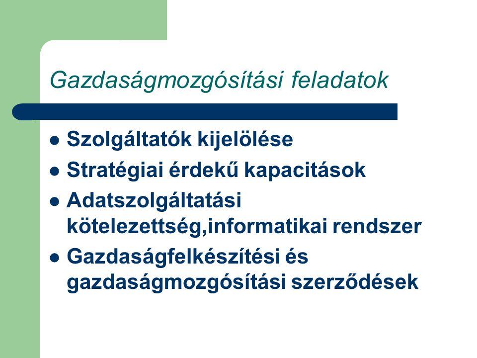 Gazdaságmozgósítási feladatok Szolgáltatók kijelölése Stratégiai érdekű kapacitások Adatszolgáltatási kötelezettség,informatikai rendszer Gazdaságfelkészítési és gazdaságmozgósítási szerződések