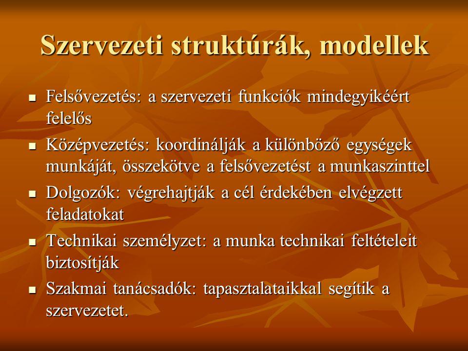 Szervezeti struktúrák, modellek Felsővezetés: a szervezeti funkciók mindegyikéért felelős Felsővezetés: a szervezeti funkciók mindegyikéért felelős Kö