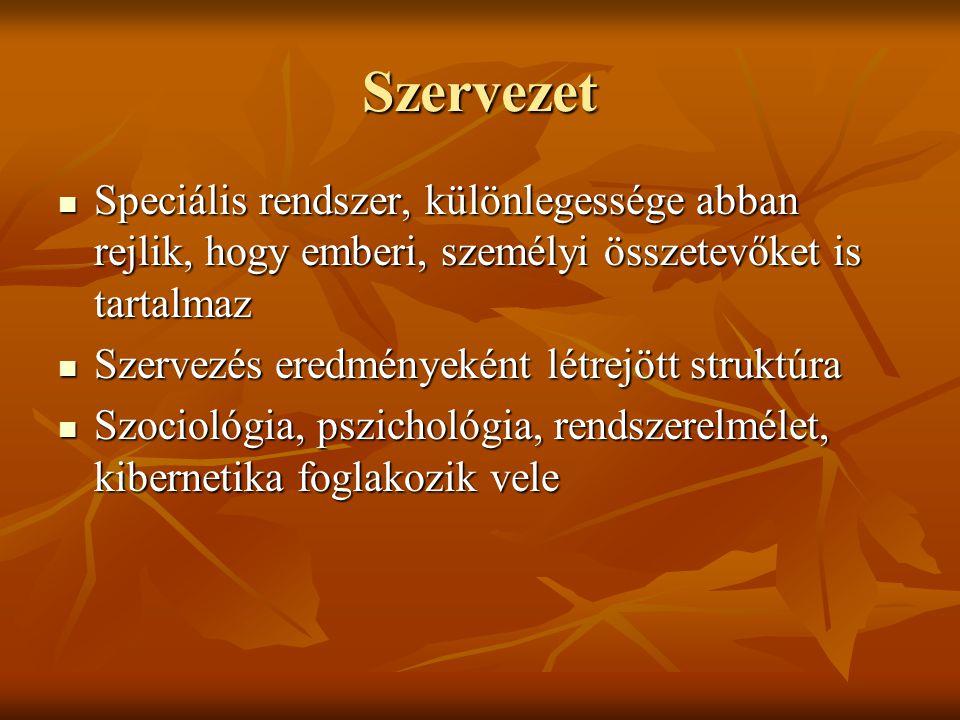 Szervezet Speciális rendszer, különlegessége abban rejlik, hogy emberi, személyi összetevőket is tartalmaz Speciális rendszer, különlegessége abban re