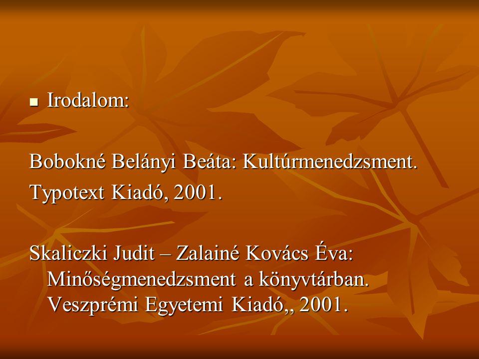 Irodalom: Irodalom: Bobokné Belányi Beáta: Kultúrmenedzsment. Typotext Kiadó, 2001. Skaliczki Judit – Zalainé Kovács Éva: Minőségmenedzsment a könyvtá