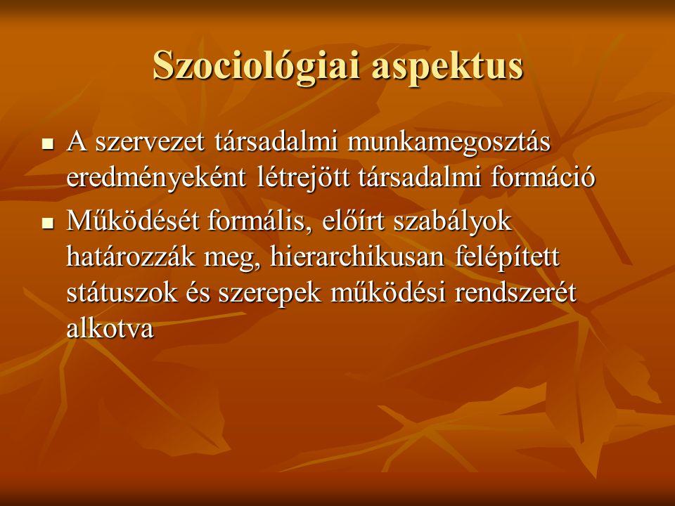 Szociológiai aspektus A szervezet társadalmi munkamegosztás eredményeként létrejött társadalmi formáció A szervezet társadalmi munkamegosztás eredmény