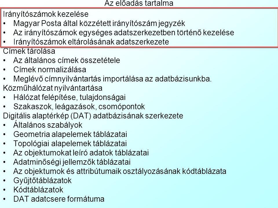 Az előadás tartalma Irányítószámok kezelése Magyar Posta által közzétett irányítószám jegyzék Az irányítószámok egységes adatszerkezetben történő kezelése Irányítószámok eltárolásának adatszerkezete Címek tárolása Az általános címek összetétele Címek normalizálása Meglévő címnyilvántartás importálása az adatbázisunkba.