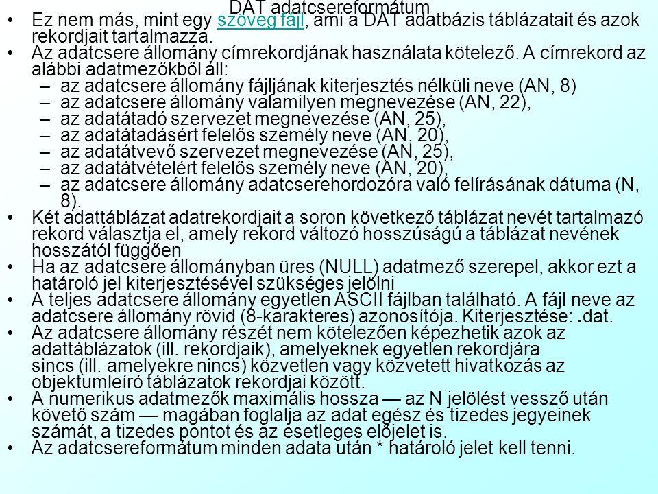 Kódtáblázatok T_ADATGY1DAT előállítási és aktualizálási szemléletek kódtáblázata T_ADATGY2Geometriai terepi adatnyerés eszközeinek kódtáblázata T_ADAT