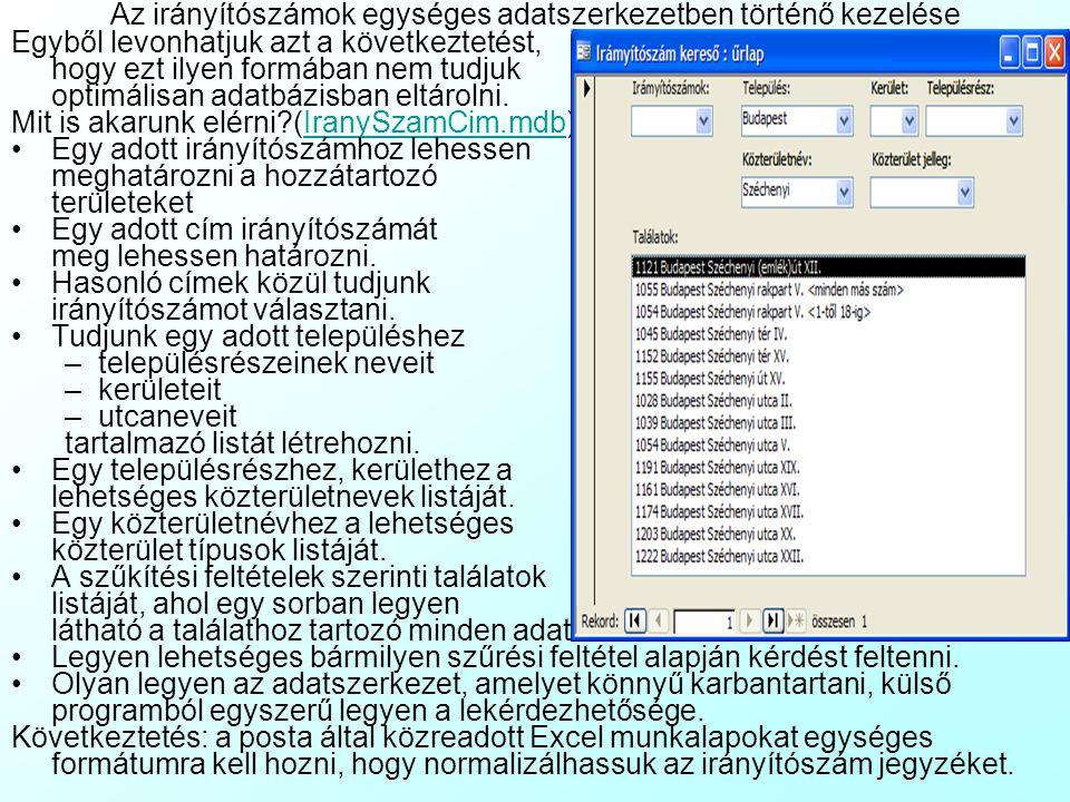 Meglévő címek importja az adatbázisba 3 Vannak esetek, amikor a cím import fájlban nem konzisztens adatok vannak, mert a korábbi adattárolás nincs felkészítve egyes adatfajták eltárolására.