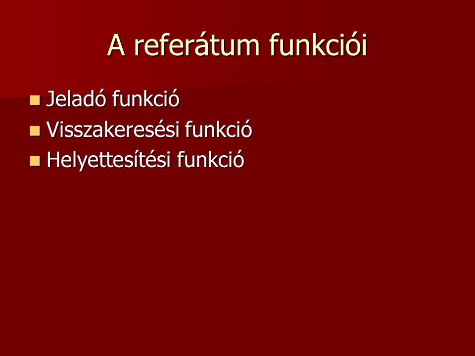 A referátum funkciói Jeladó funkció Jeladó funkció Visszakeresési funkció Visszakeresési funkció Helyettesítési funkció Helyettesítési funkció