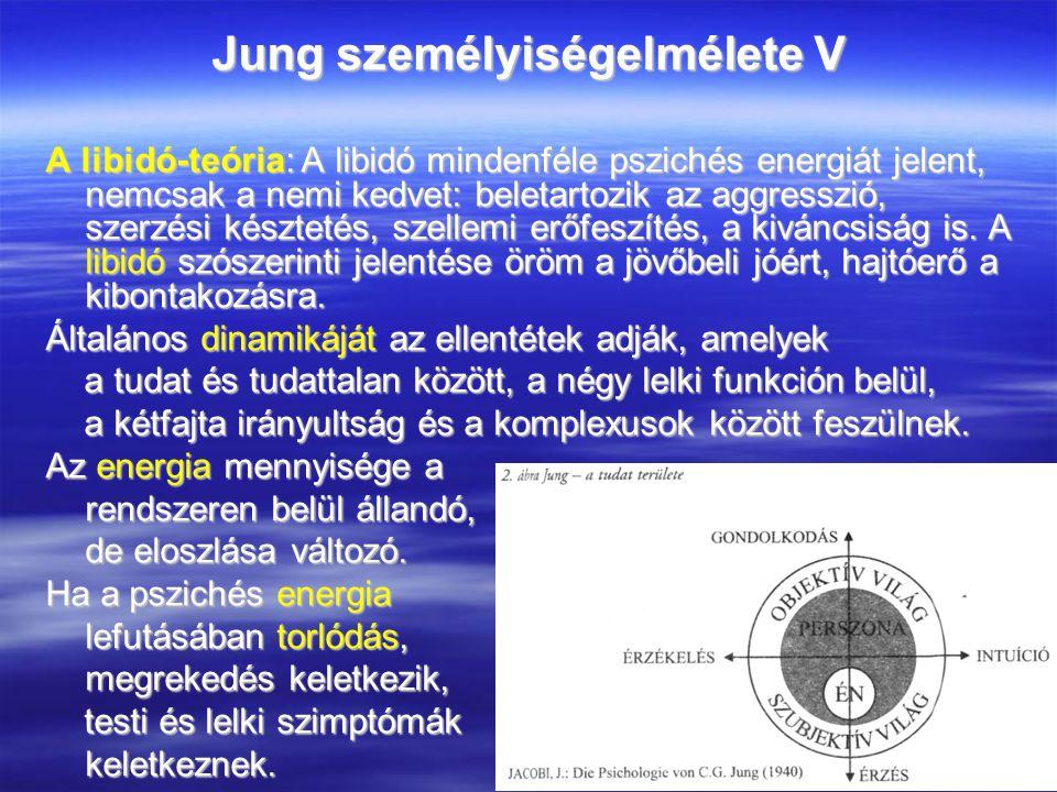 Jung személyiségelmélete V A libidó-teória: A libidó mindenféle pszichés energiát jelent, nemcsak a nemi kedvet: beletartozik az aggresszió, szerzési késztetés, szellemi erőfeszítés, a kiváncsiság is.