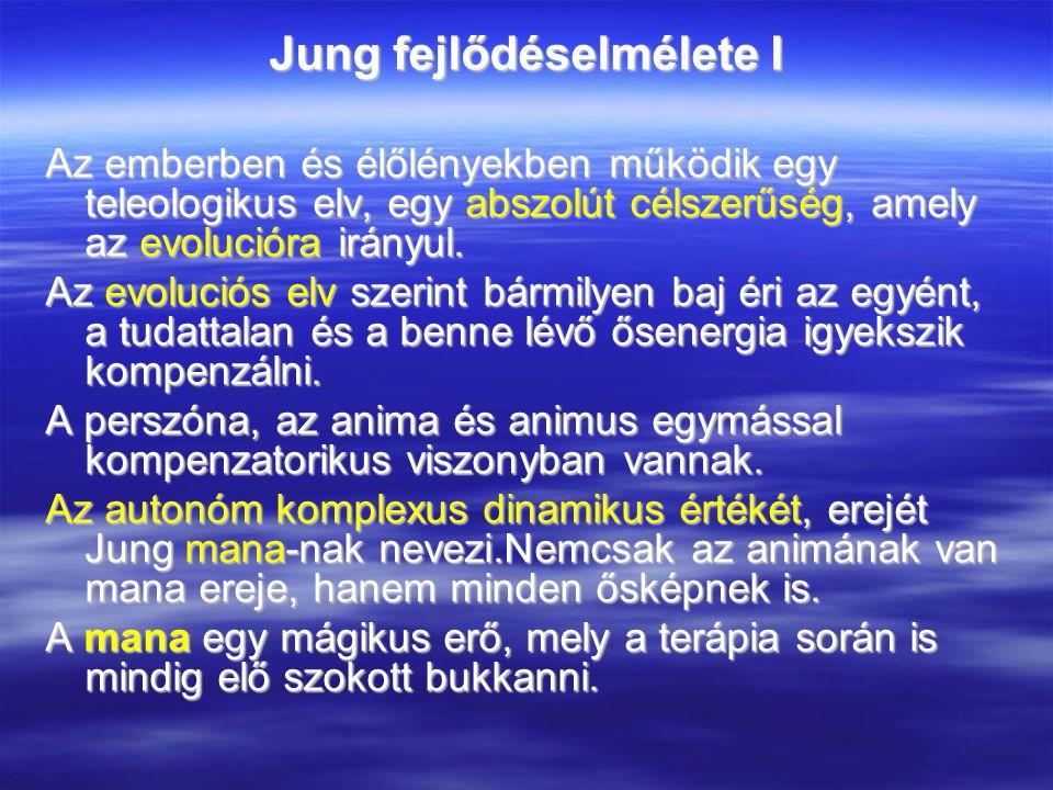 Jung fejlődéselmélete I Az emberben és élőlényekben működik egy teleologikus elv, egy abszolút célszerűség, amely az evolucióra irányul.
