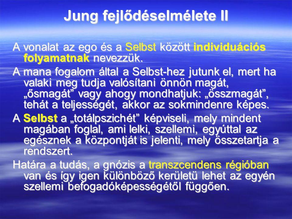 Jung fejlődéselmélete II A vonalat az ego és a Selbst között individuációs folyamatnak nevezzük.