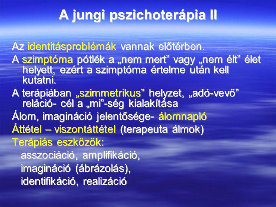 A jungi pszichoterápia II Az identitásproblémák vannak előtérben.