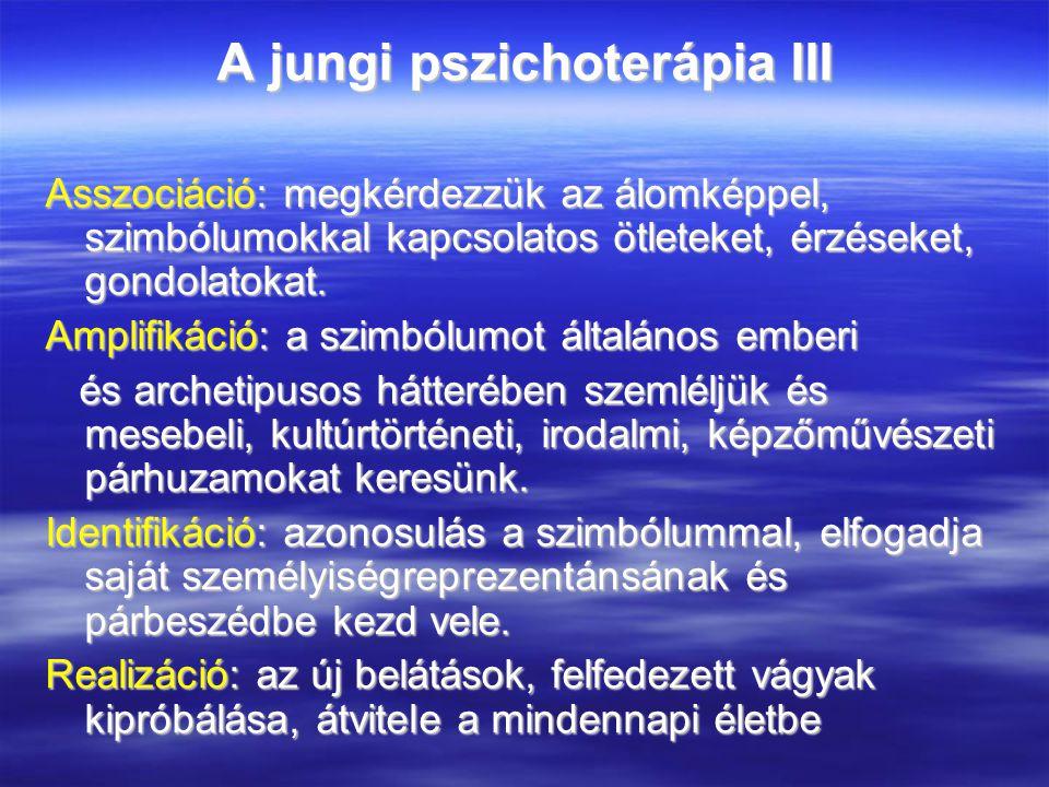 A jungi pszichoterápia III Asszociáció: megkérdezzük az álomképpel, szimbólumokkal kapcsolatos ötleteket, érzéseket, gondolatokat.