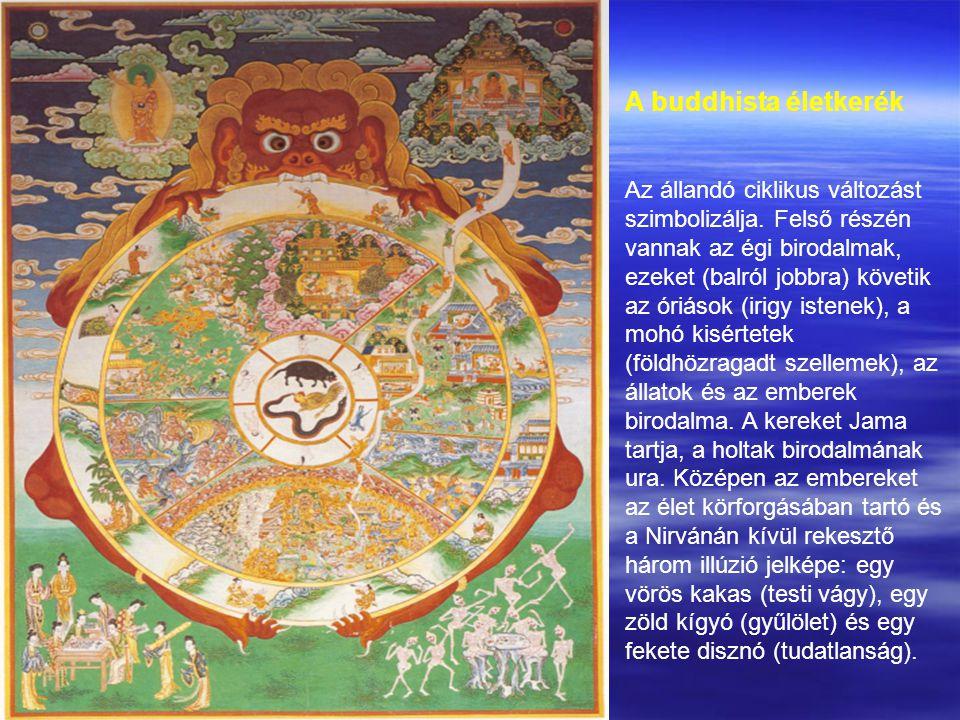 A buddhista életkerék Az állandó ciklikus változást szimbolizálja.