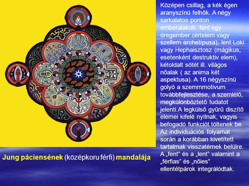 Jung páciensének (középkoru férfi) mandalája Középen csillag, a kék égen aranyszínü felhők.