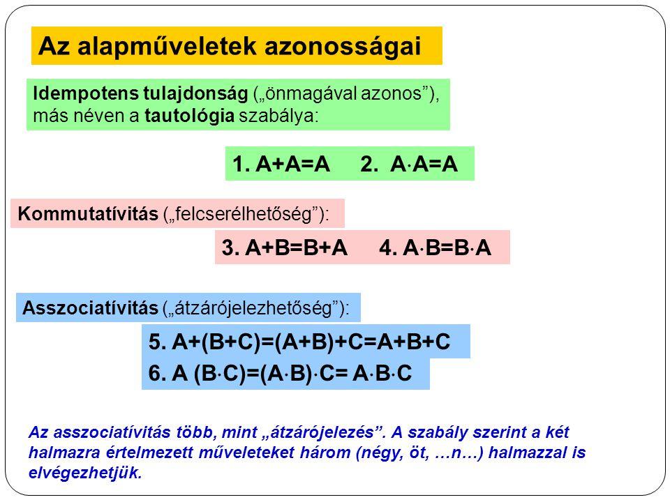 """Az alapműveletek azonosságai Idempotens tulajdonság (""""önmagával azonos""""), más néven a tautológia szabálya: 1. A+A=A 2. A  A=A Kommutatívitás (""""felcse"""