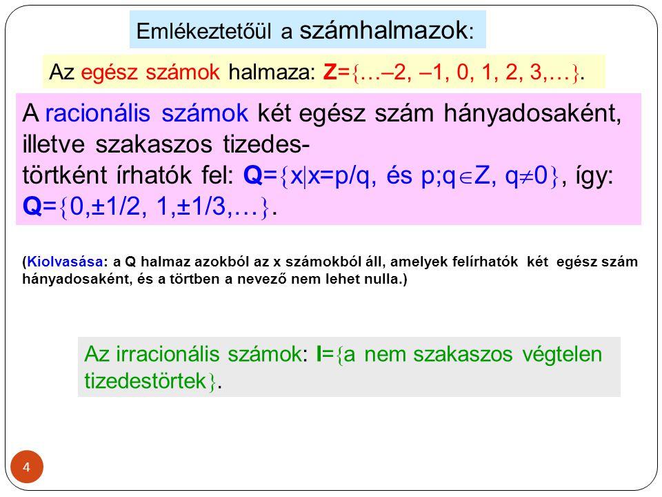 4 Emlékeztetőül a számhalmazok : Az egész számok halmaza: Z=  …–2, –1, 0, 1, 2, 3,… . A racionális számok két egész szám hányadosaként, illetve szak