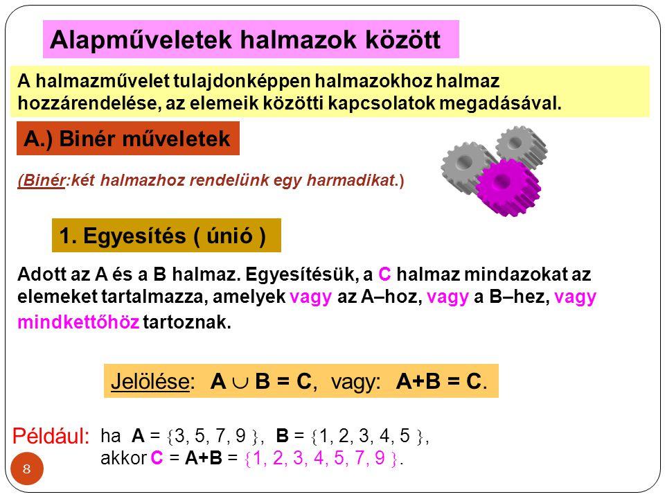 8 Alapműveletek halmazok között A halmazművelet tulajdonképpen halmazokhoz halmaz hozzárendelése, az elemeik közötti kapcsolatok megadásával. A.) Biné