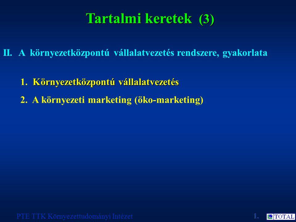 Tartalmi keretek (3) PTE TTK Környezettudományi Intézet II.A környezetközpontú vállalatvezetés rendszere, gyakorlata Környezetközpontú vállalatvezetés