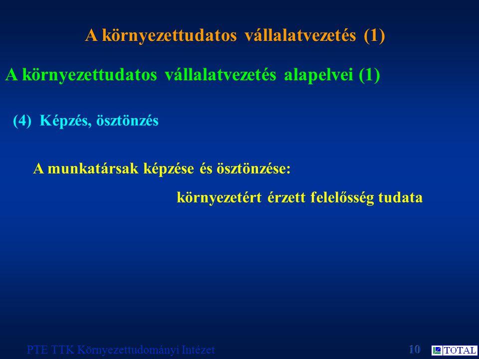 A környezettudatos vállalatvezetés (1) PTE TTK Környezettudományi Intézet A környezettudatos vállalatvezetés alapelvei (1) (4) Képzés, ösztönzés A mun