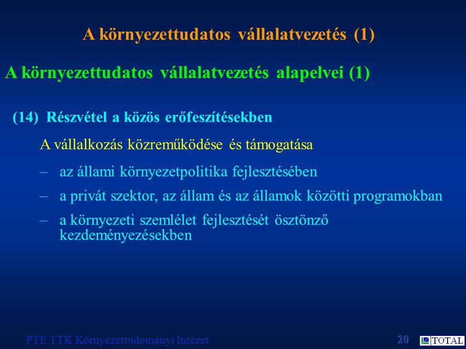 A környezettudatos vállalatvezetés (1) PTE TTK Környezettudományi Intézet A környezettudatos vállalatvezetés alapelvei (1) (14) Részvétel a közös erőf