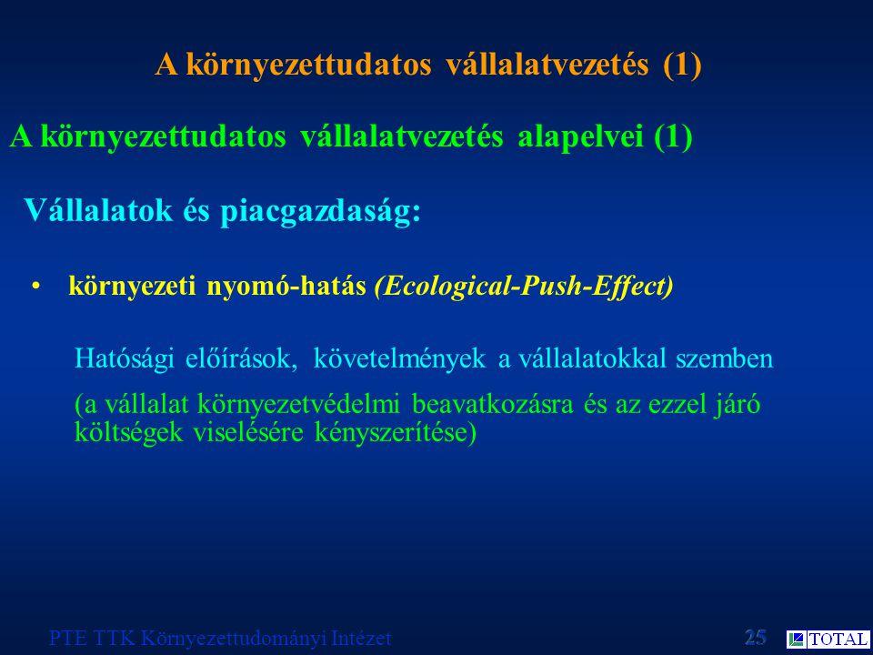 A környezettudatos vállalatvezetés (1) PTE TTK Környezettudományi Intézet A környezettudatos vállalatvezetés alapelvei (1) Vállalatok és piacgazdaság: környezeti nyomó-hatás (Ecological-Push-Effect) Hatósági előírások, követelmények a vállalatokkal szemben (a vállalat környezetvédelmi beavatkozásra és az ezzel járó költségek viselésére kényszerítése)