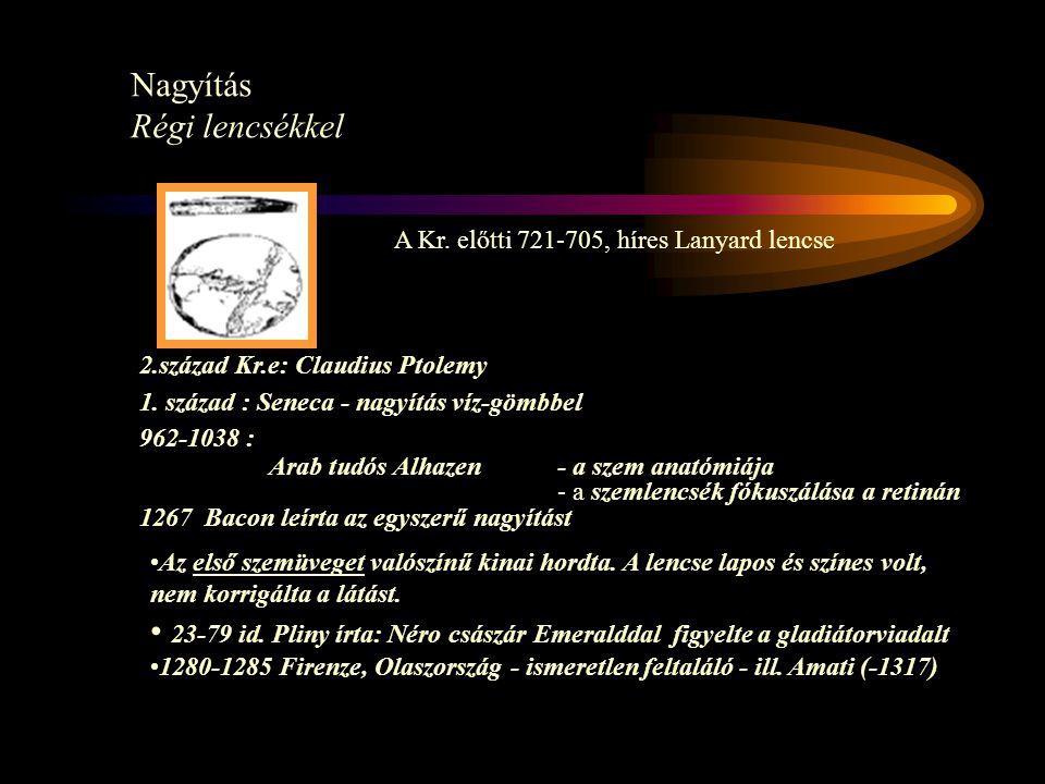 A Kr. előtti 721-705, híres Lanyard lencse Nagyítás Régi lencsékkel 2.század Kr.e: Claudius Ptolemy 1. század : Seneca - nagyítás víz-gömbbel 962-1038