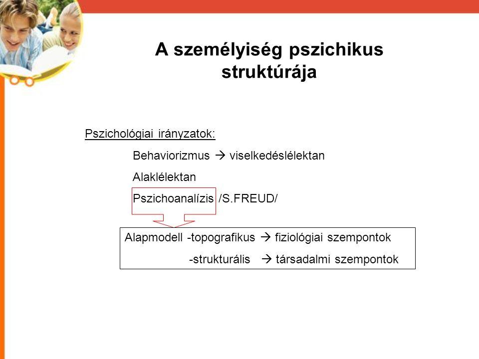 A személyiség pszichikus struktúrája Pszichológiai irányzatok: Behaviorizmus  viselkedéslélektan Alaklélektan Pszichoanalízis /S.FREUD/ Alapmodell -t