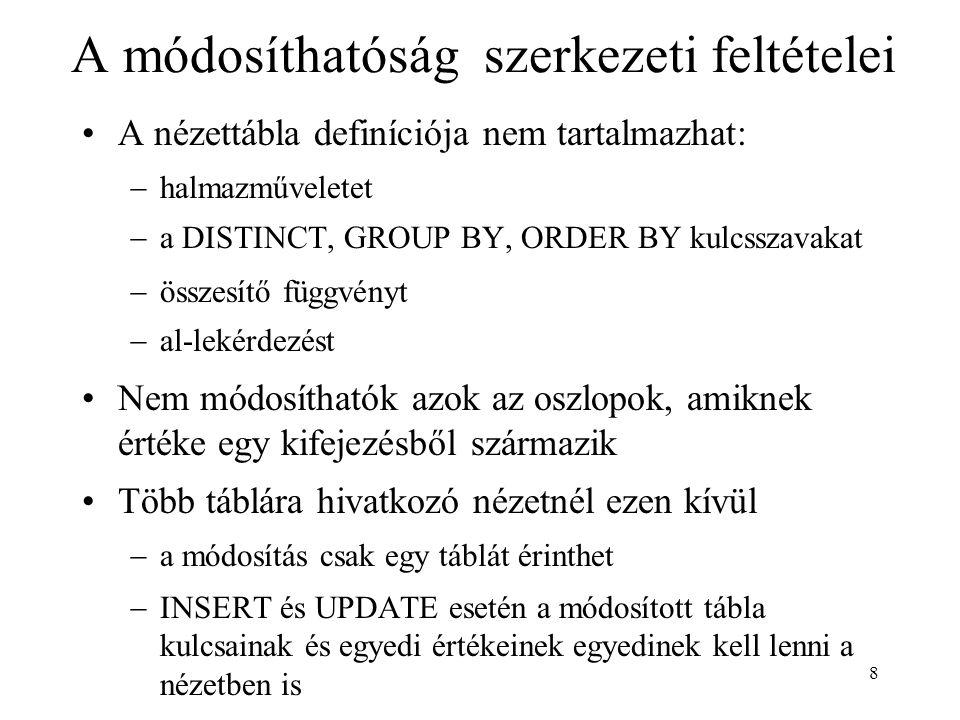 8 A módosíthatóság szerkezeti feltételei A nézettábla definíciója nem tartalmazhat:  halmazműveletet  a DISTINCT, GROUP BY, ORDER BY kulcsszavakat 