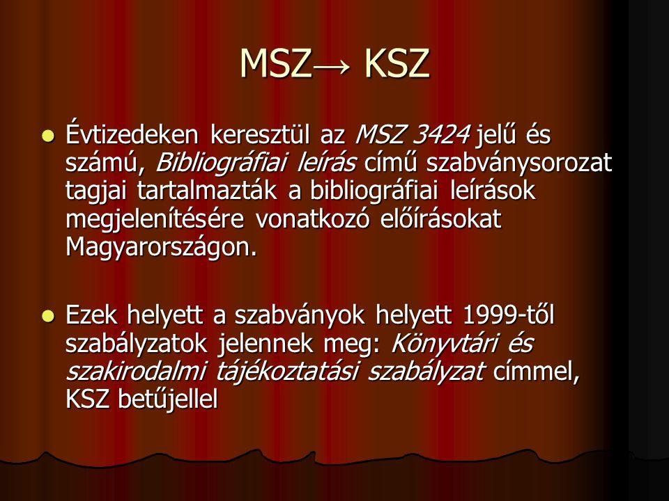 MSZ → KSZ Évtizedeken keresztül az MSZ 3424 jelű és számú, Bibliográfiai leírás című szabványsorozat tagjai tartalmazták a bibliográfiai leírások megj