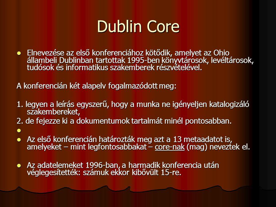 Dublin Core Elnevezése az első konferenciához kötődik, amelyet az Ohio állambeli Dublinban tartottak 1995-ben könyvtárosok, levéltárosok, tudósok és i