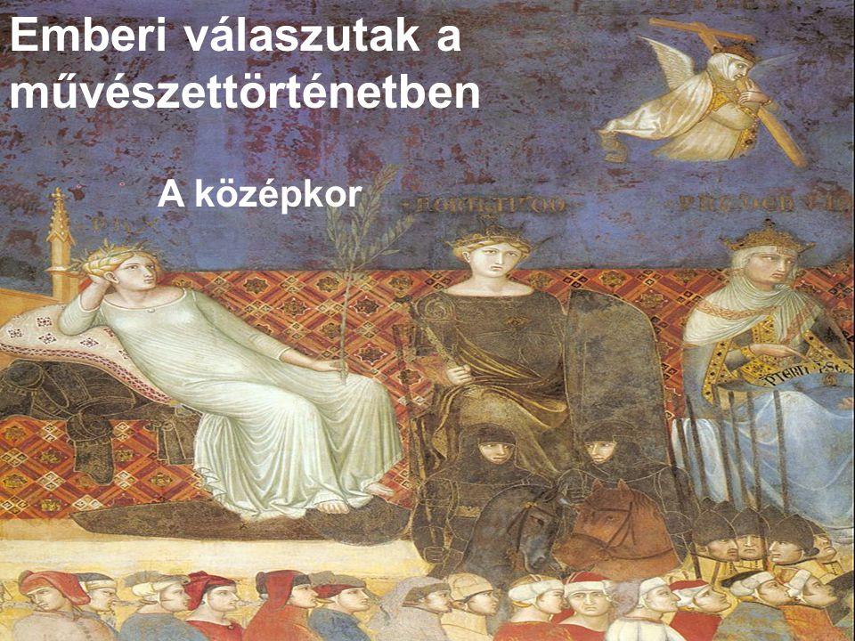 Ambrogio Lorenzetti: Részlet a Jó Kormányzás Allegórája című freskóról. Siena, 1340.