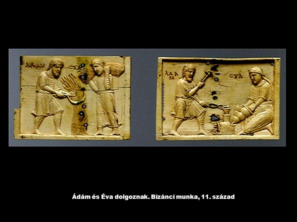 Ádám és Éva dolgoznak. Bizánci munka, 11. század