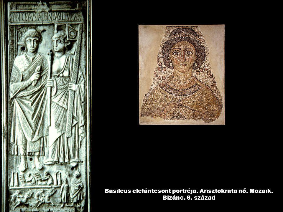 Basileus elefántcsont portréja. Arisztokrata nő. Mozaik. Bizánc. 6. század