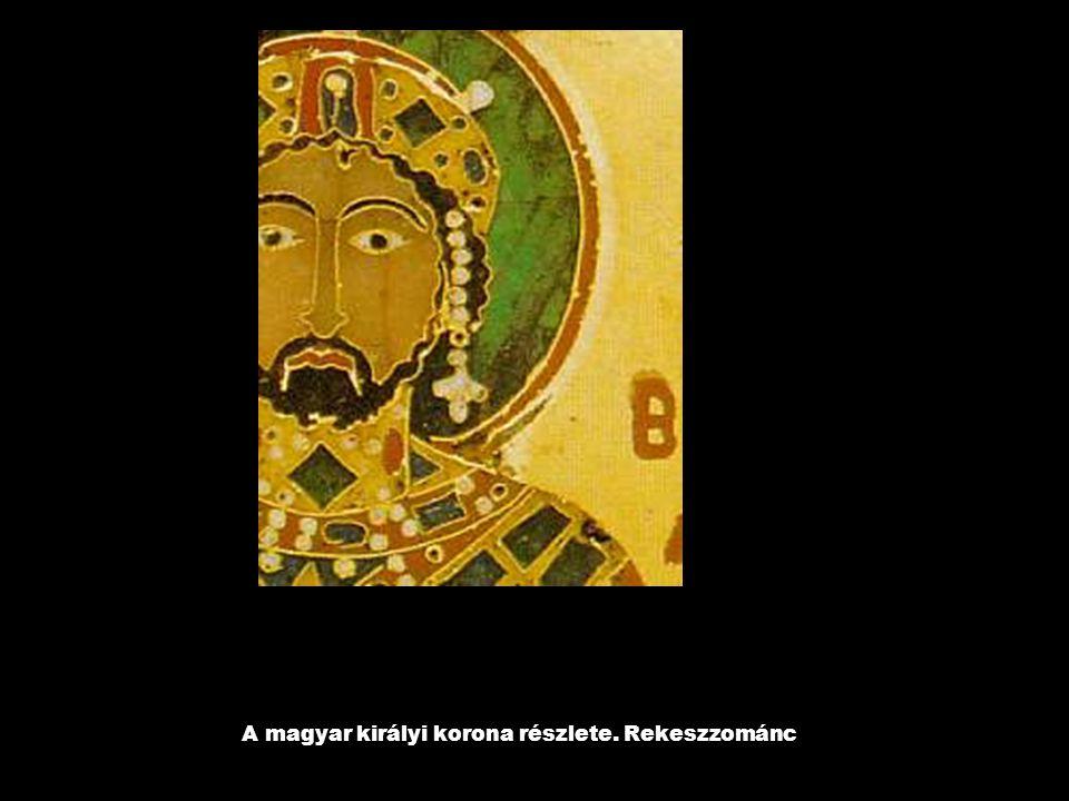A magyar királyi korona részlete. Rekeszzománc
