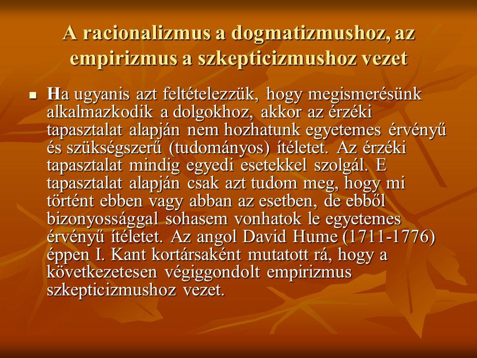 A racionalizmus a dogmatizmushoz, az empirizmus a szkepticizmushoz vezet Ha ugyanis azt feltételezzük, hogy megismerésünk alkalmazkodik a dolgokhoz, akkor az érzéki tapasztalat alapján nem hozhatunk egyetemes érvényű és szükségszerű (tudományos) ítéletet.