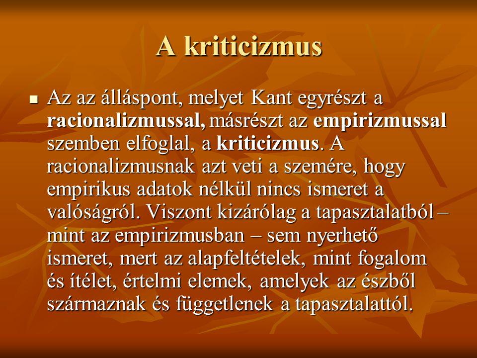 A kriticizmus Az az álláspont, melyet Kant egyrészt a racionalizmussal, másrészt az empirizmussal szemben elfoglal, a kriticizmus.